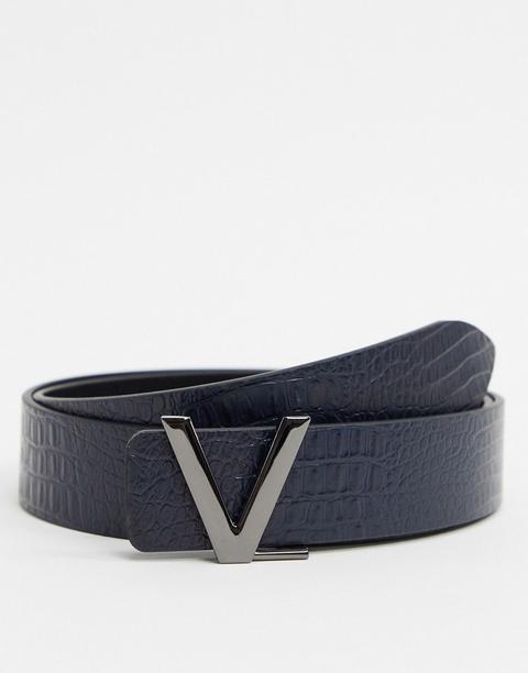Cinturón De Cuero Efecto Cocodrilo En Azul Marino Victor De Valentino By Mario Valentino