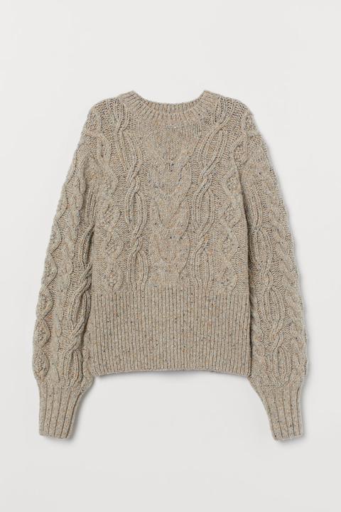 Jersey Trenzado Con Lana - Amarillo de H&M en 21 Buttons