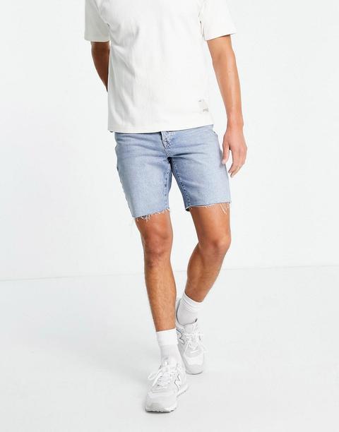 Topman Slim Denim Shorts In Mid Wash-blue