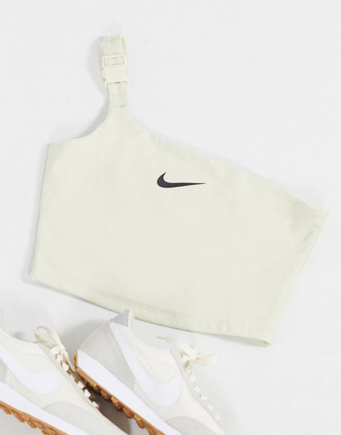 Nike One Shoulder Buckle Crop Top In