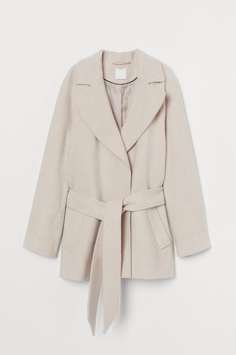 Chaqueta En Mezcla De Lana - Beis de H&M en 21 Buttons