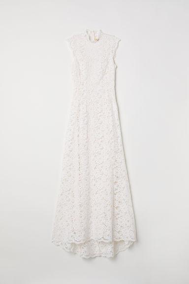 Vestido Largo De Encaje - Blanco