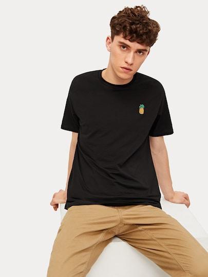T-shirt Crop Con Ananas Ricamata