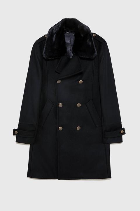 Abrigo Combinado Efecto Pelo de Zara en 21 Buttons