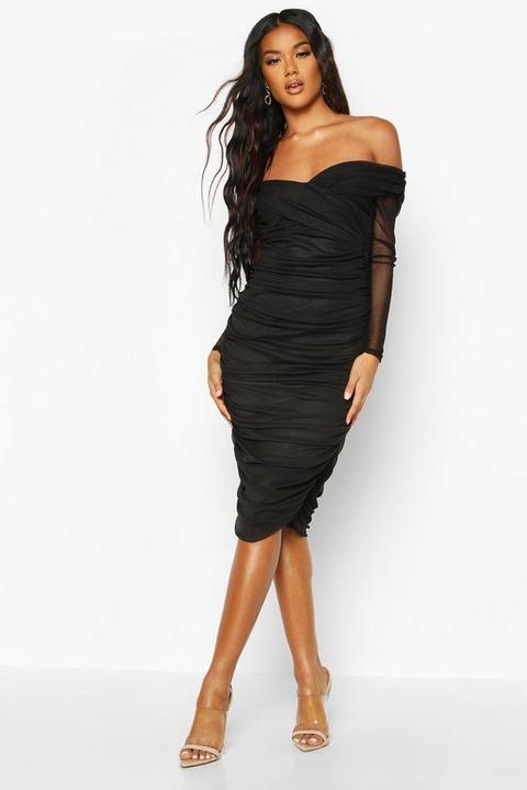 Womens Off Shoulder Ruched Mesh Bodycon Midi Dress - Black - 6, Black