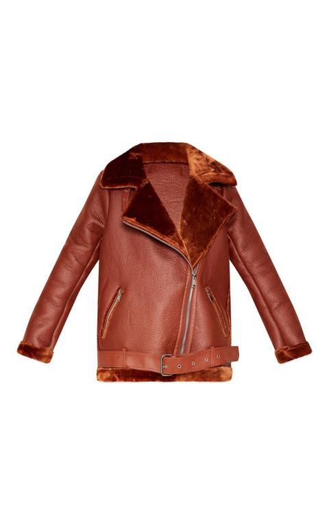 Tan PU Oversized Aviator Jacket