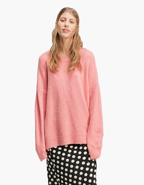 Pullover Infeltrito Oversize Collo Rotondo Rosa Chewingum