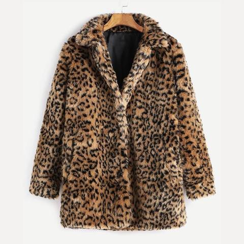 Abrigo De Piel Sintética - Leopardo