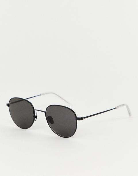 Monokel Eyewear - Rio - Runde Sonnenbrille In Schwarz - Schwarz from ASOS on 21 Buttons