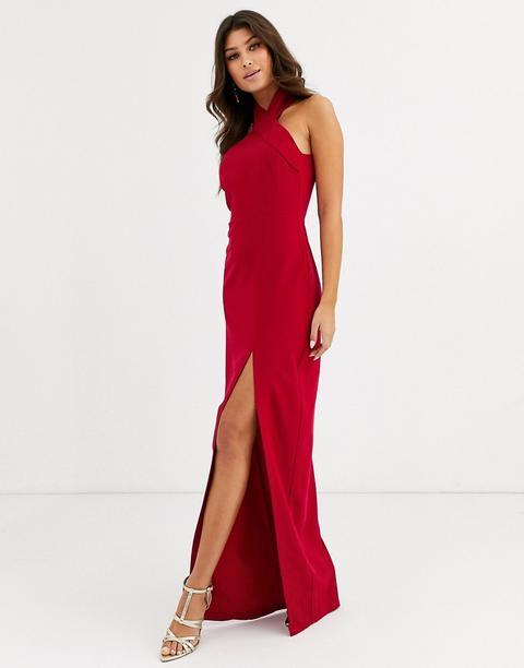 Vestido Largo Con Cuello Subido Y Abertura En El Muslo En Rojo De Vesper
