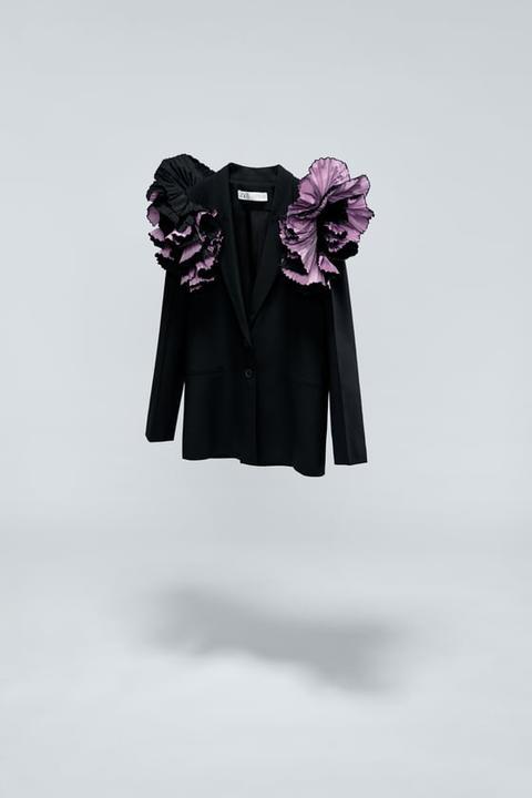 Blazer Hombro Combinado de Zara en 21 Buttons