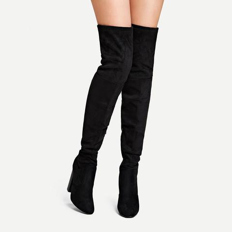 Plain Thigh High Block Heeled Boots