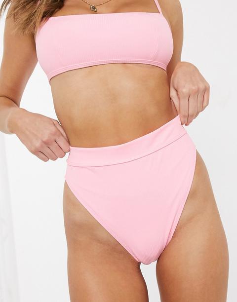 Asos Design - Mix And Match - Bas De Bikini Échancré Taille Haute Côtelé - Rose Poupée