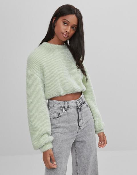 Cropped Metallic Thread Sweater