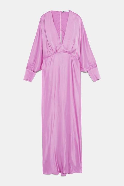 Vestido Satinado de Zara en 21 Buttons