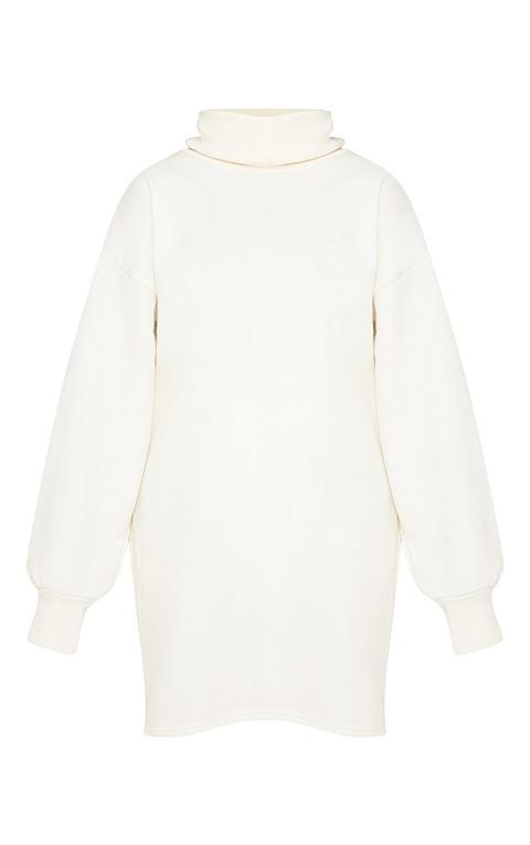 Robe Pull Oversize Crème À Col Roulé, Crème