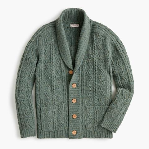 Wallace & Barnes Cable-knit Shawl-collar Cardigan