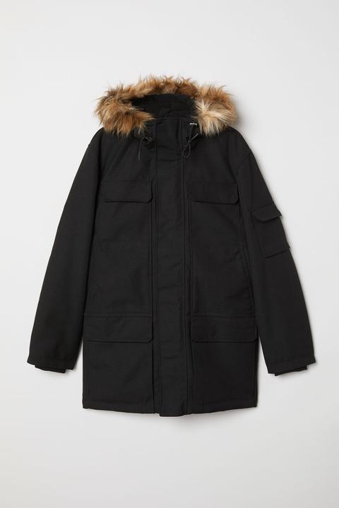 Parka Con Forro Cálido - Negro de H&M en 21 Buttons