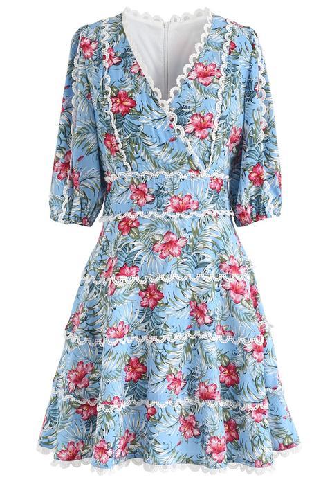 Vestido Acampanado Con Estampado Floral De Verano Caribeño