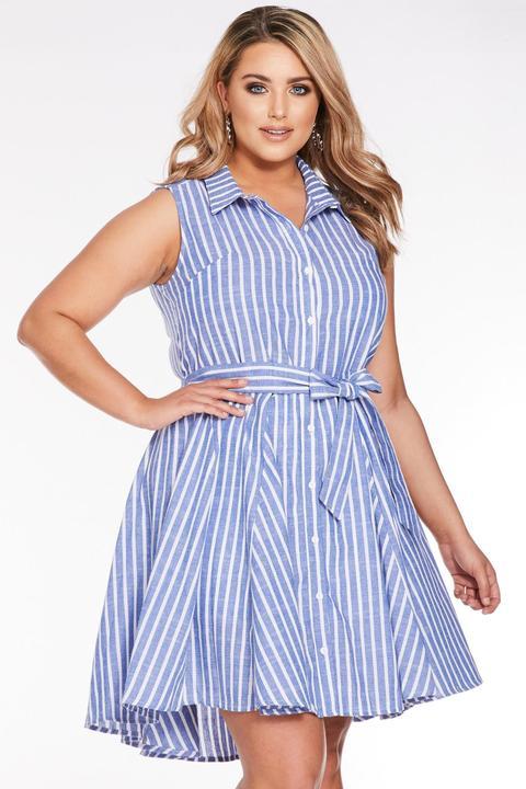 Curve Blue And White Stripe Shirt Dress
