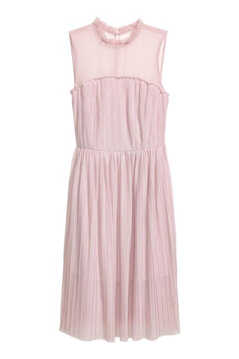 H & M+ Vestido Plisado De Malla - Rosa