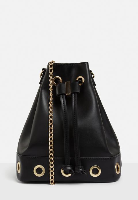 Black Eyelet Drawstring Bag