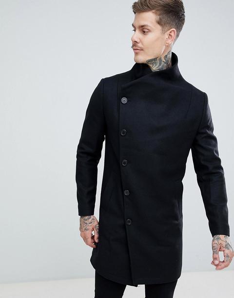 Religion Funnel Neck Coat In Black - Black