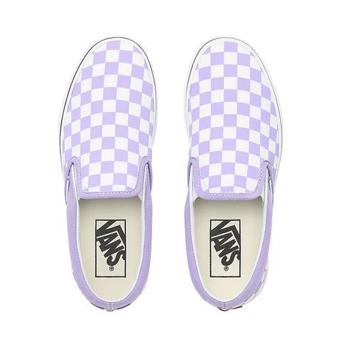 buy \u003e purple and white vans slip ons
