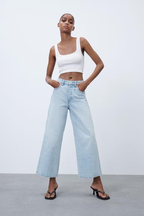 Jeans Hi Rise Wide Leg Cropped