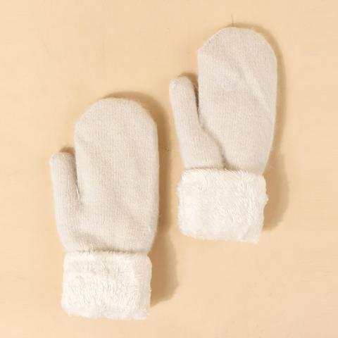 Fluffy Trim Knit Gloves