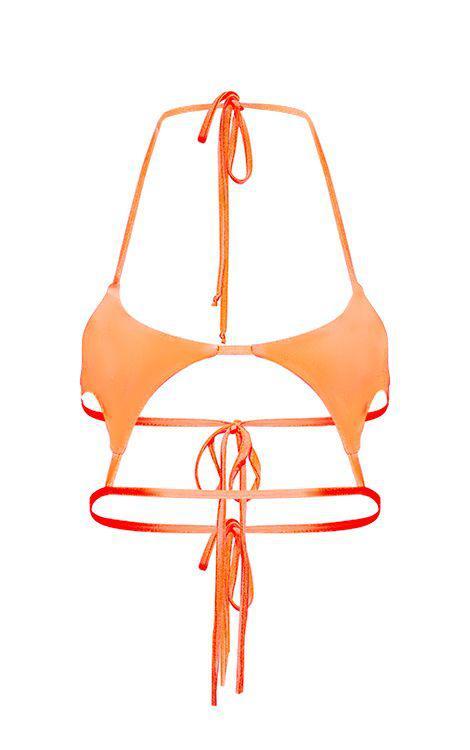 Coral 21 Bikini Top Out En Buttons Cut De Diamond Neon Prettylittlething oBdCxe