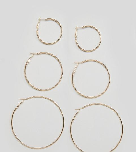 Reclaimed Vintage Inspired - Confezione Da 3 Orecchini A Cerchio Semplici Color Oro - Oro