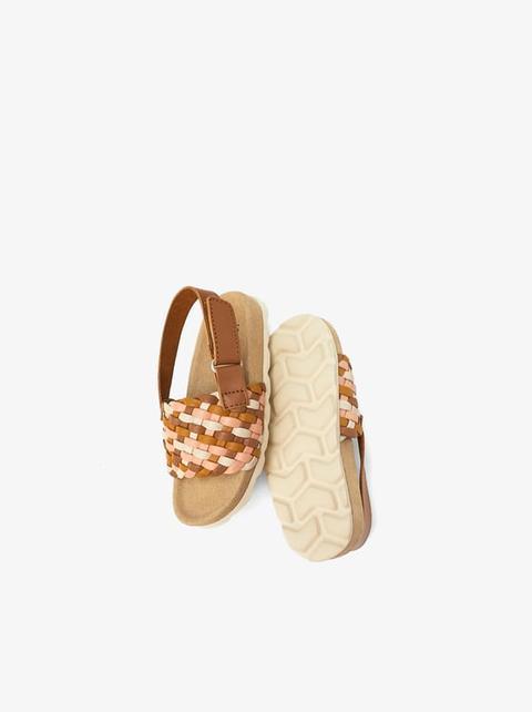 En Piel Sandalia Buttons If6mbvy7gy Trenzada De Zara 21 W9IDEH2Y