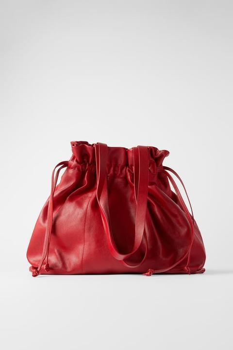 Bolso Shopper Piel Fruncido de Zara en 21 Buttons