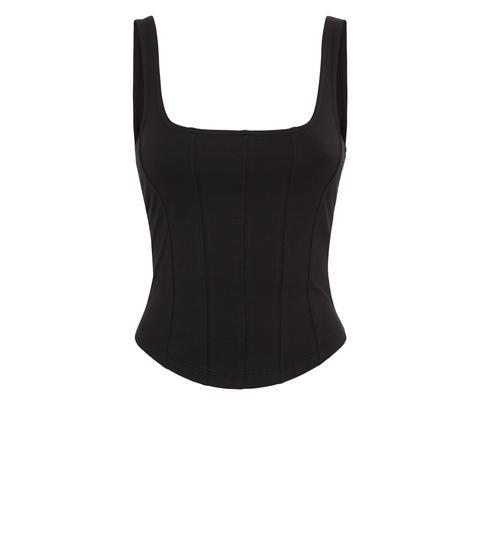Black Square Neck Corset Seam Vest New Look