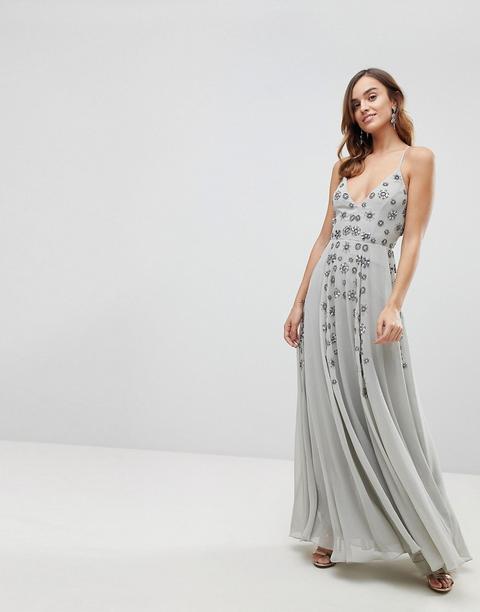 Vestido Largo Con Tirantes Finos Y Adornos De Pedrería De Asos