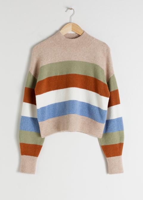 Striped Mock Neck Sweater