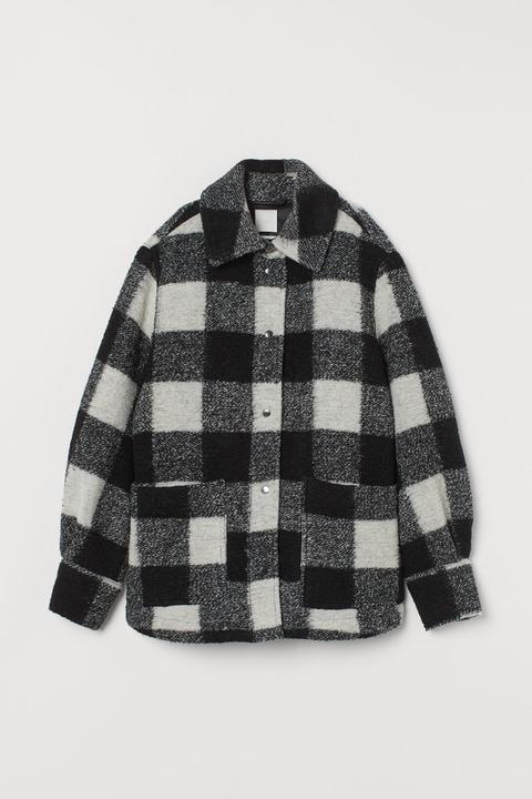 Chaqueta Camisera Con Lana - Negro de H&M en 21 Buttons