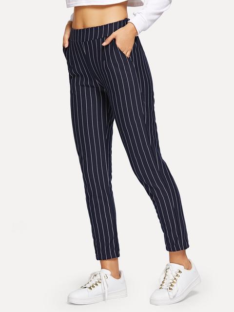 Pantaloni Corti A Righe Con Tasca Sul Lato