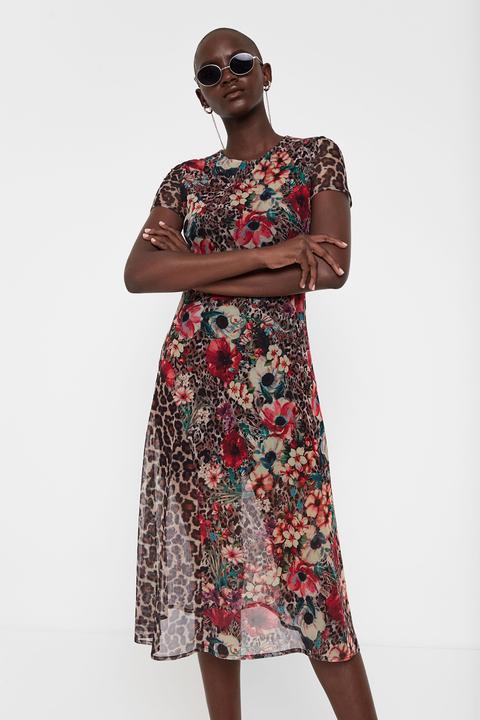 Vestido Midi Print Floral Y Animal de Desigual en 21 Buttons