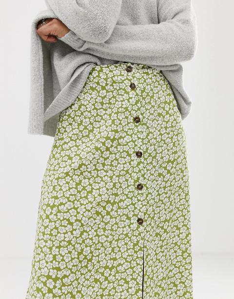 Asos Design - Jupe Longue Boutonnée Sur Le Devant Avec Imprimé À Fleurs Vert - Multi