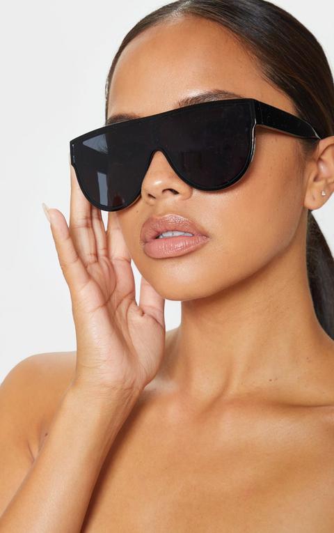 Black Tinted Oversized Flat Top Sunglasses