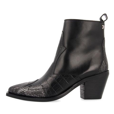 Botines Negros De Inspiración Cowboy Con Diferentes Texturas Para Mujer Gotha