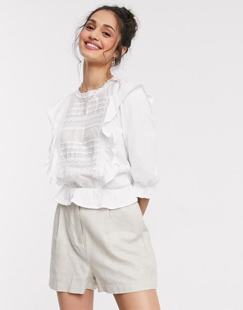 Miss Selfridge - Blouse À Volants - Blanc