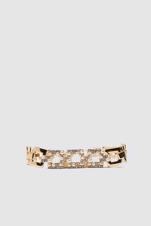 Cinturón Eslabones Perlas Brillos