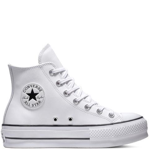 Converse Chuck Taylor All Star Lift Leather High Top White, Black de Converse en 21 Buttons