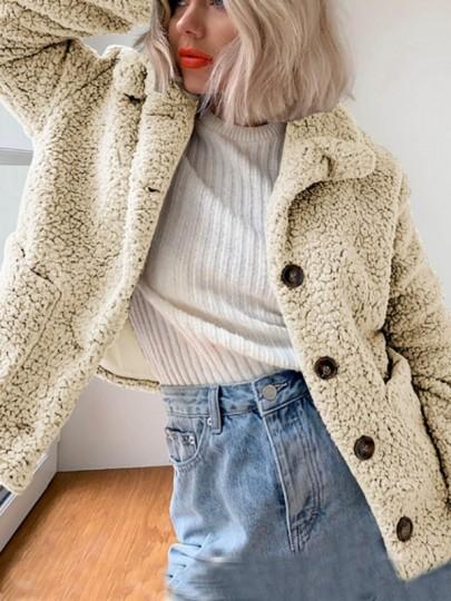 Teddymantel Faux Warme Umlegekragen Grau Fur Reißverschluss j4A5R3Lq