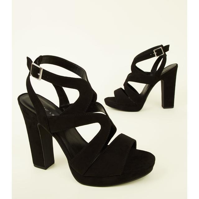 black suedette strappy platform block heels