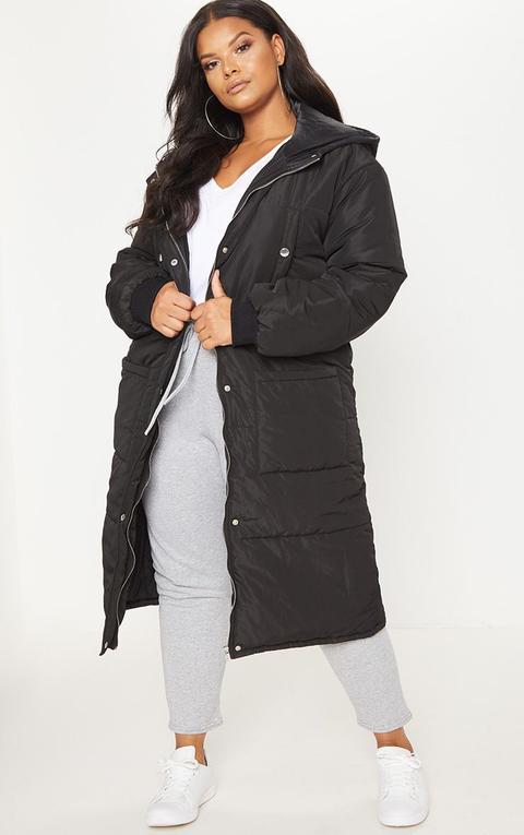 Plus Black Longline Puffer Coat