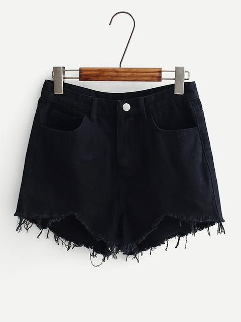 Shorts In Denim Con Bordi Sfilacciati